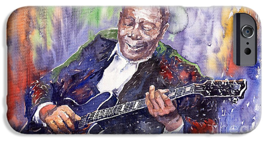 Jazz IPhone 6 Case featuring the painting Jazz B B King 06 by Yuriy Shevchuk