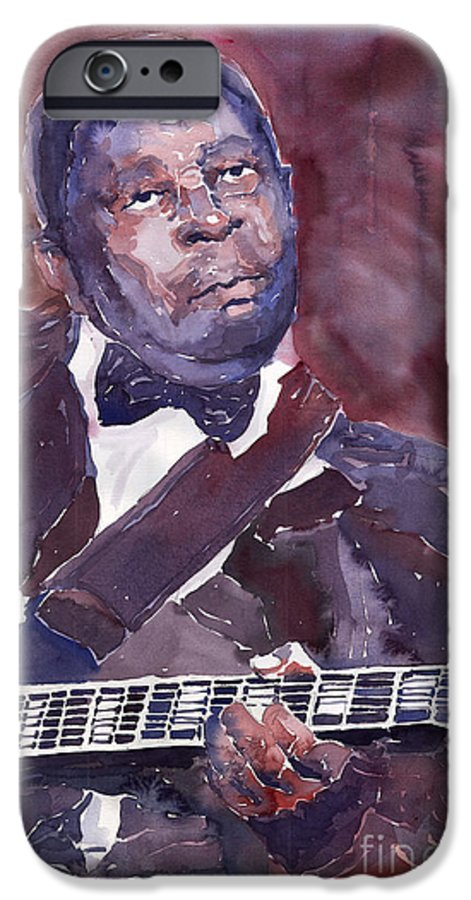 Jazz Bbking Guitarist Blues Portret Figurative Music IPhone 6 Case featuring the painting Jazz B B King by Yuriy Shevchuk