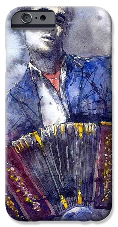 Jazz IPhone 6 Case featuring the painting Jazz Concertina Player by Yuriy Shevchuk