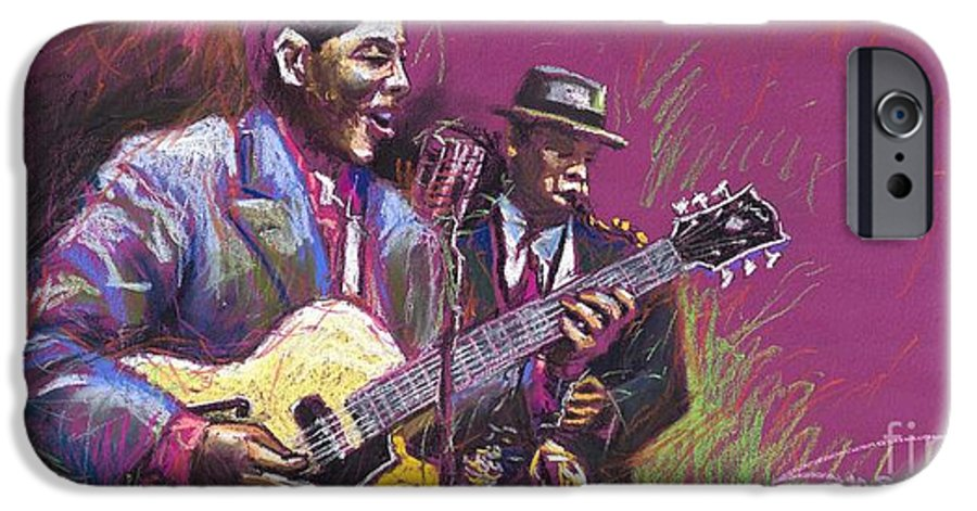 Jazz IPhone 6 Case featuring the painting Jazz Guitarist Duet by Yuriy Shevchuk