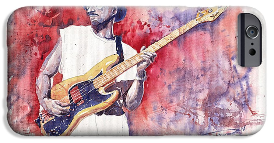 Jazz IPhone 6 Case featuring the painting Jazz Guitarist Marcus Miller Red by Yuriy Shevchuk