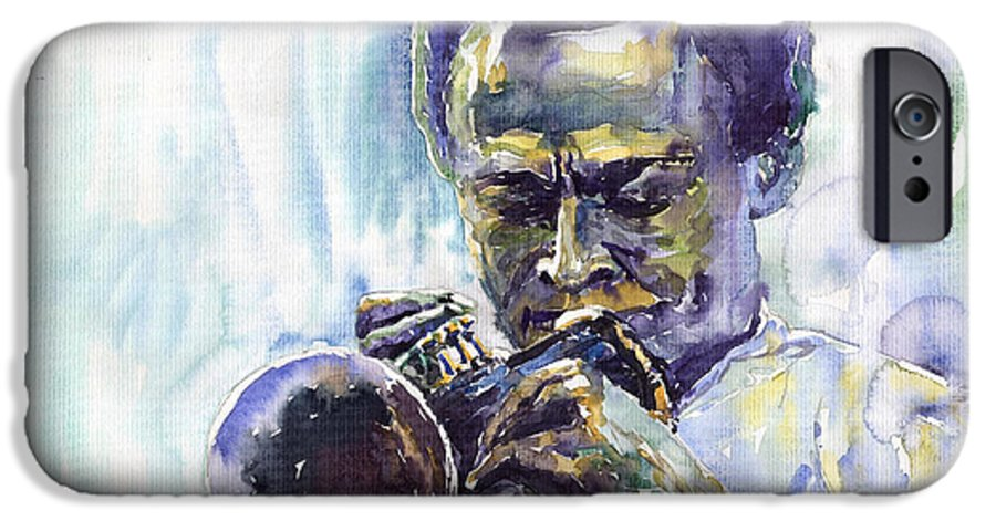 Jazz Miles Davis Music Musiciant Trumpeter Portret IPhone 6 Case featuring the painting Jazz Miles Davis 10 by Yuriy Shevchuk