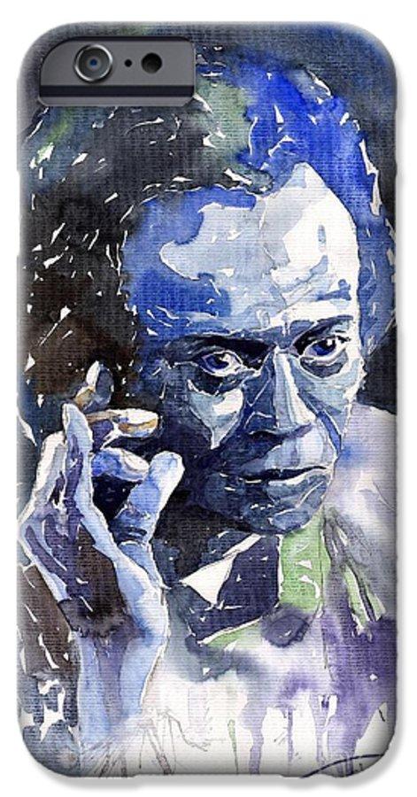 Jazz IPhone 6 Case featuring the painting Jazz Miles Davis 11 Blue by Yuriy Shevchuk