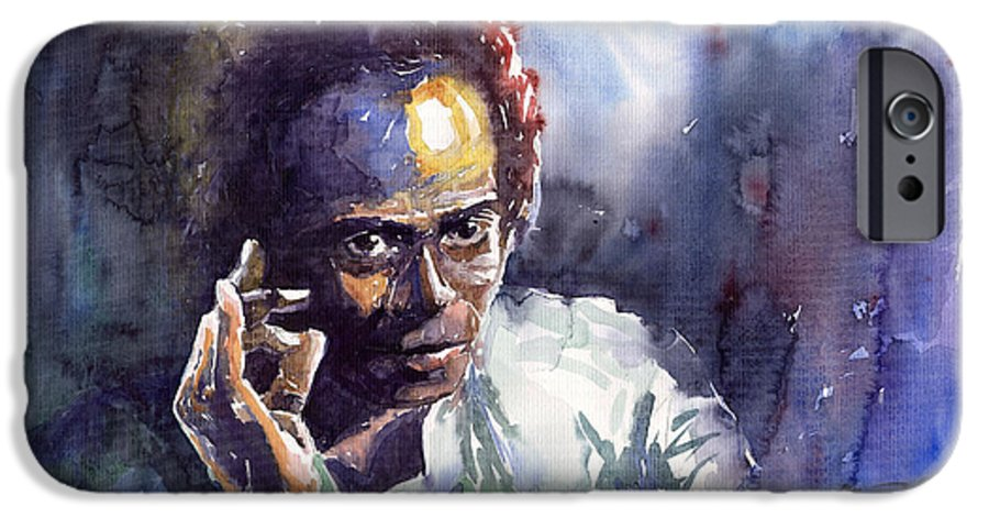 Jazz Watercolor Watercolour Miles Davis Portret IPhone 6 Case featuring the painting Jazz Miles Davis 11 by Yuriy Shevchuk