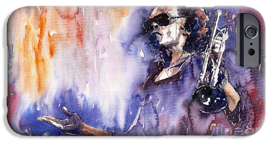 Jazz IPhone 6 Case featuring the painting Jazz Miles Davis 14 by Yuriy Shevchuk