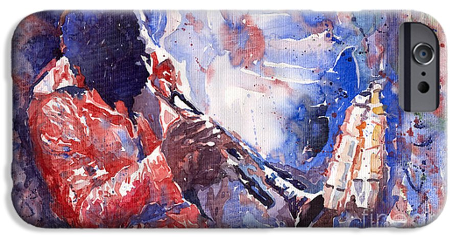 Jazz IPhone 6 Case featuring the painting Jazz Miles Davis 15 by Yuriy Shevchuk