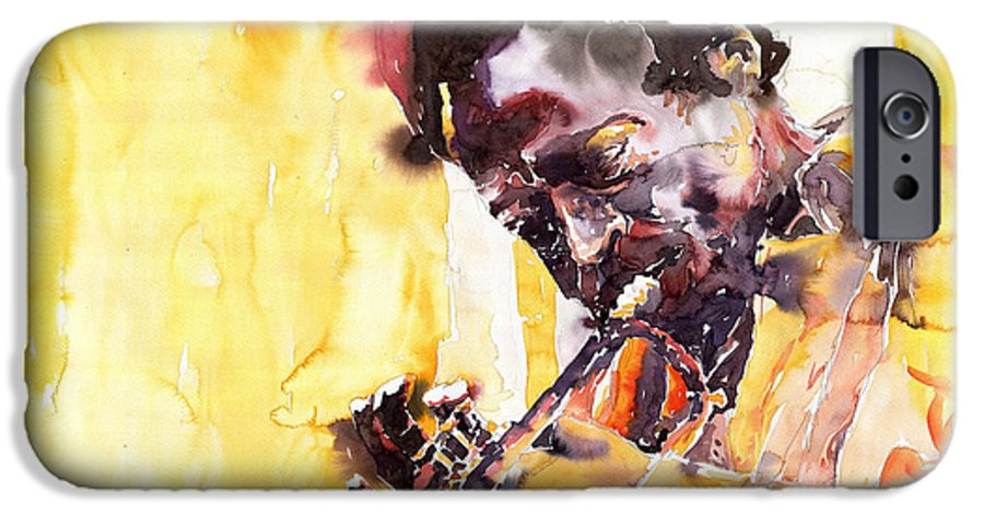 Jazz Music Watercolor Watercolour Miles Davis Trumpeter Portret IPhone 6 Case featuring the painting Jazz Miles Davis 6 by Yuriy Shevchuk