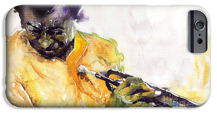 Davis Figurativ Jazz Miles Music Portret Trumpeter Watercolor Watercolour IPhone 6 Case featuring the painting Jazz Miles Davis 7 by Yuriy Shevchuk