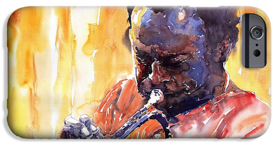 Jazz Miles Davis Music Watercolor Watercolour Figurativ Portret Trumpeter IPhone 6 Case featuring the painting Jazz Miles Davis 8 by Yuriy Shevchuk