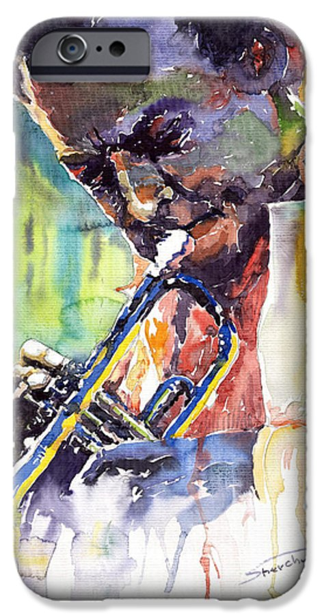 Jazz Miles Davis Music Musiciant Trumpeter Portret IPhone 6 Case featuring the painting Jazz Miles Davis 9 Blue by Yuriy Shevchuk