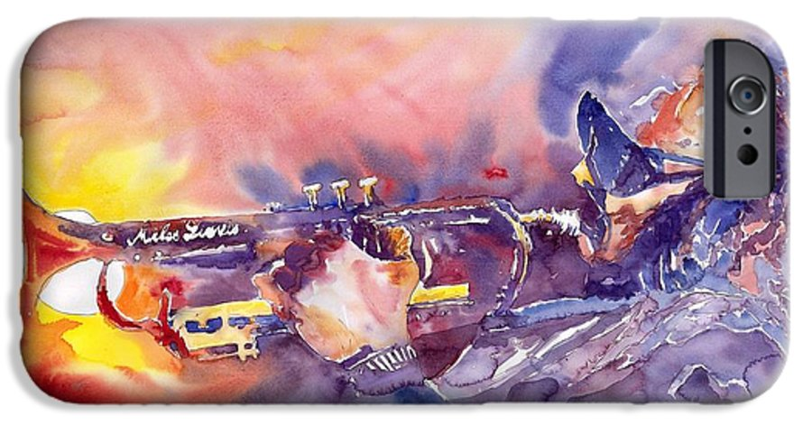 Jazz Watercolor Miles Davis Music Musician Trumpeter Figurative Watercolour IPhone 6 Case featuring the painting Jazz Miles Davis Electric 1 by Yuriy Shevchuk