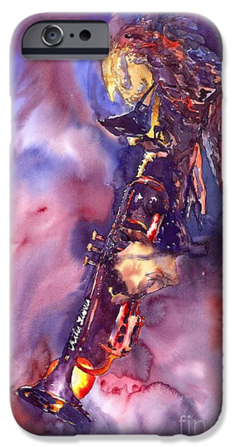 Davis Figurative Jazz Miles Music Musiciant Trumpeter Watercolor Watercolour IPhone 6 Case featuring the painting Jazz Miles Davis Electric 3 by Yuriy Shevchuk