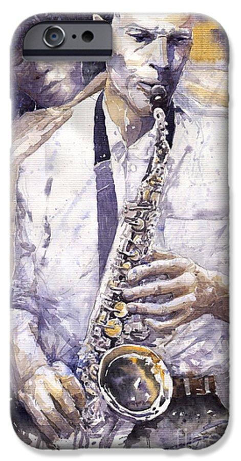 Jazz IPhone 6 Case featuring the painting Jazz Muza Saxophon by Yuriy Shevchuk