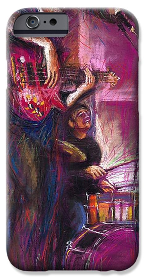 Jazz IPhone 6 Case featuring the painting Jazz Purple Duet by Yuriy Shevchuk