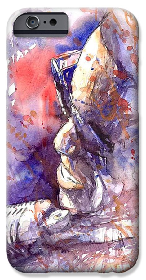 Portret IPhone 6 Case featuring the painting Jazz Ray Charles by Yuriy Shevchuk