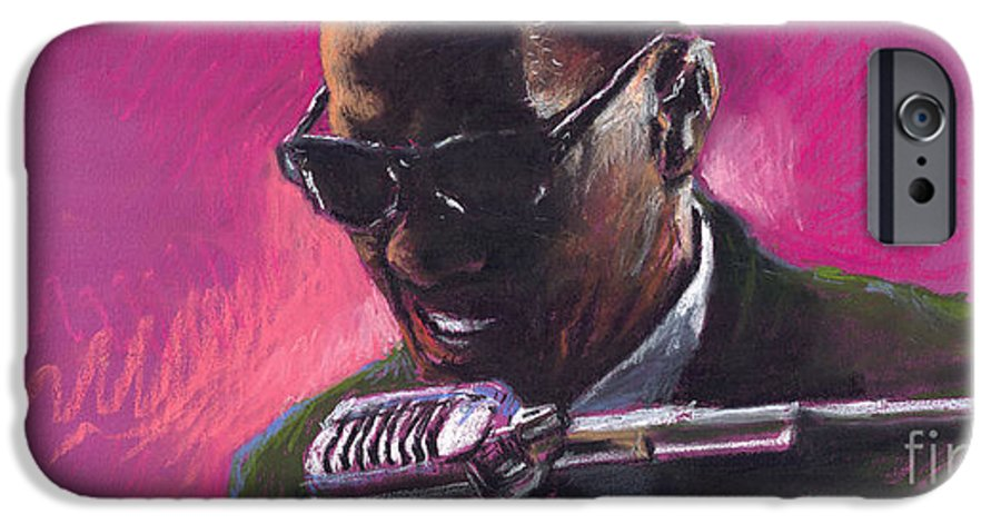 Jazz IPhone 6 Case featuring the painting Jazz. Ray Charles.1. by Yuriy Shevchuk