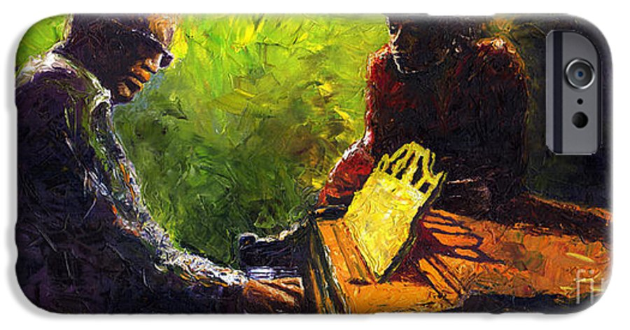 Jazz IPhone 6 Case featuring the painting Jazz Ray Duet by Yuriy Shevchuk
