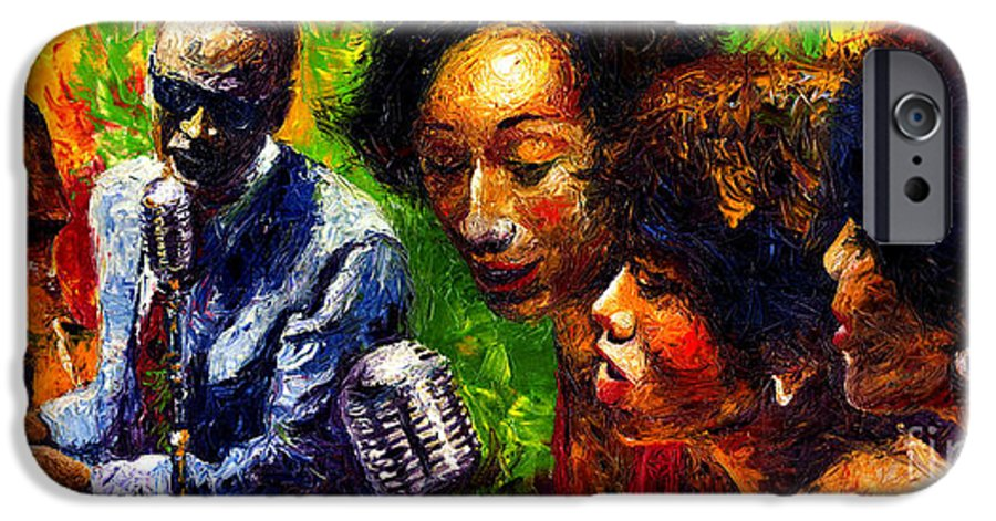 Jazz IPhone 6 Case featuring the painting Jazz Ray Song by Yuriy Shevchuk