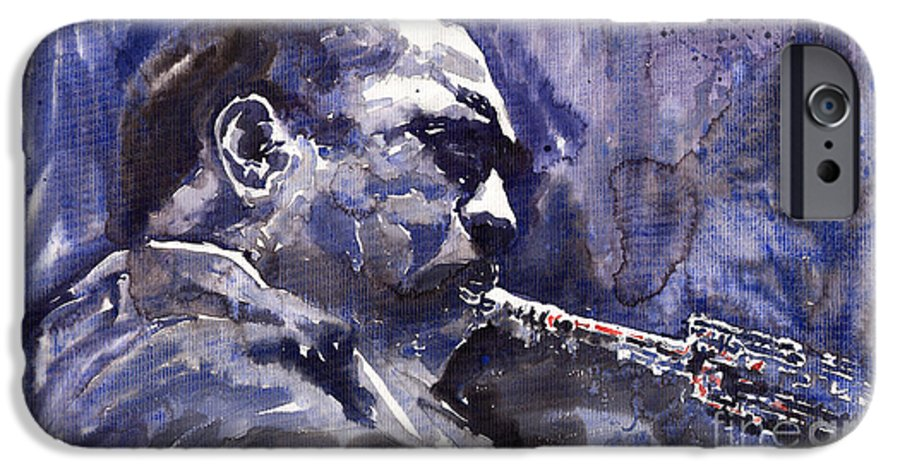 Jazz IPhone 6 Case featuring the painting Jazz Saxophonist John Coltrane 01 by Yuriy Shevchuk
