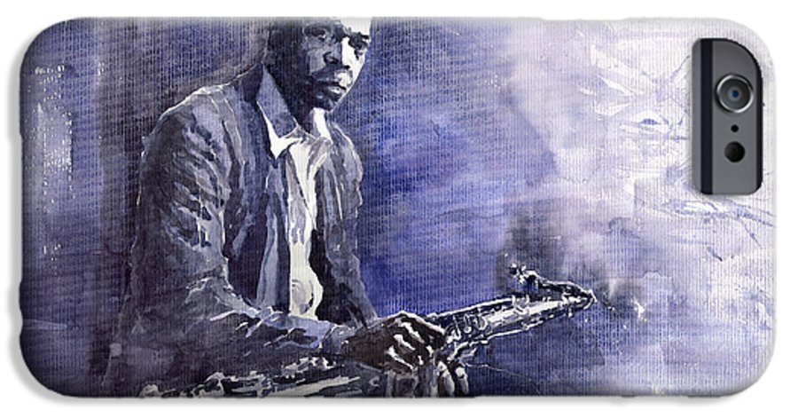 Figurative IPhone 6 Case featuring the painting Jazz Saxophonist John Coltrane 03 by Yuriy Shevchuk