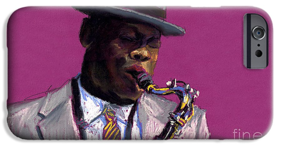 Jazz IPhone 6 Case featuring the painting Jazz Saxophonist by Yuriy Shevchuk