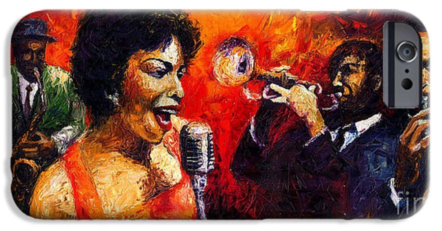 Jazz.song.trumpeter IPhone 6 Case featuring the painting Jazz Song by Yuriy Shevchuk