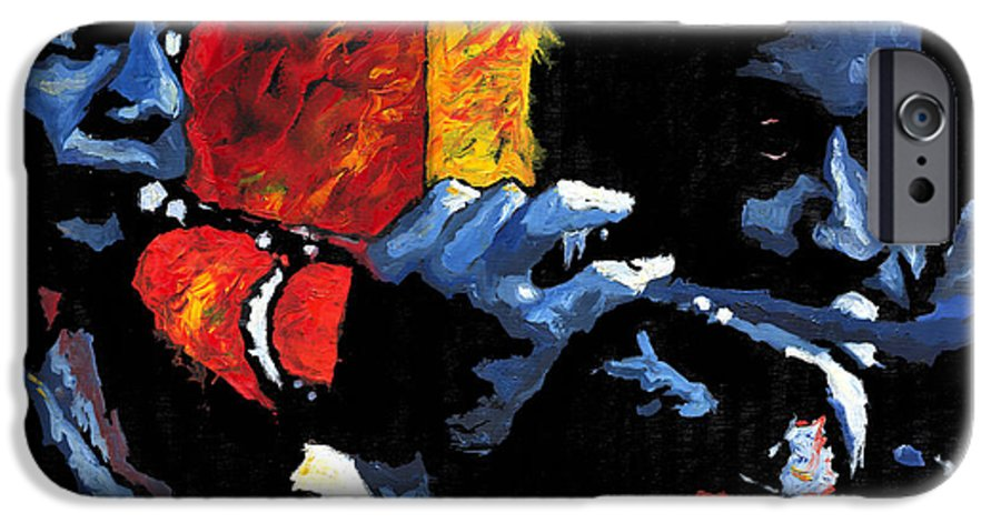 Jazz IPhone 6 Case featuring the painting Jazz Trumpeters by Yuriy Shevchuk