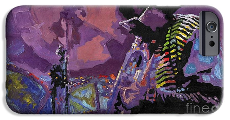Jazz IPhone 6 Case featuring the painting Jazz.miles Davis.4. by Yuriy Shevchuk