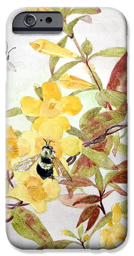 Jasmine IPhone 6 Case featuring the painting Jessamine Bee Mine by Jean Blackmer