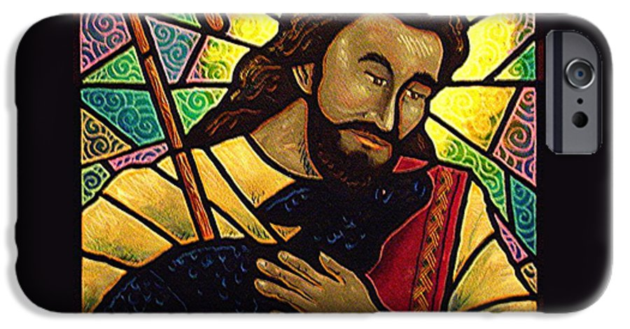 Jesus IPhone 6 Case featuring the painting Jesus The Good Shepherd by Jim Harris