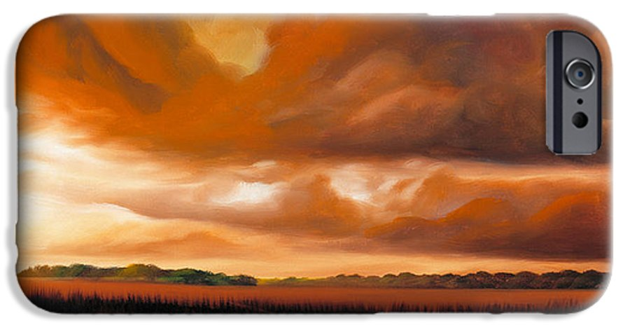 Clouds IPhone 6 Case featuring the painting Jetties On The Shore by James Christopher Hill