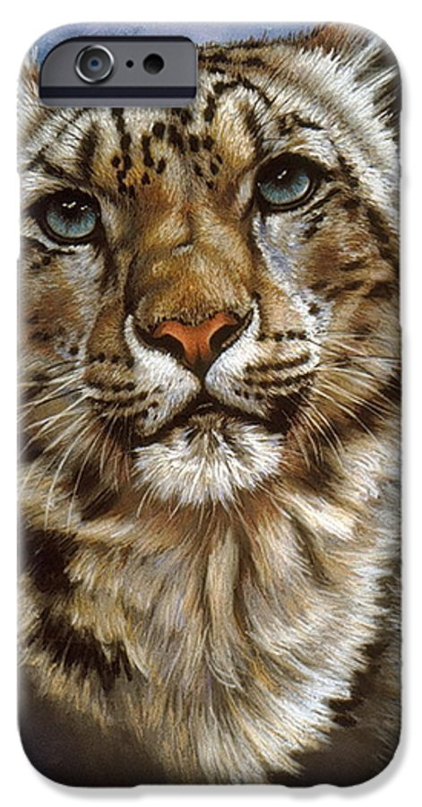 Snow Leopard IPhone 6 Case featuring the pastel Jewel by Barbara Keith