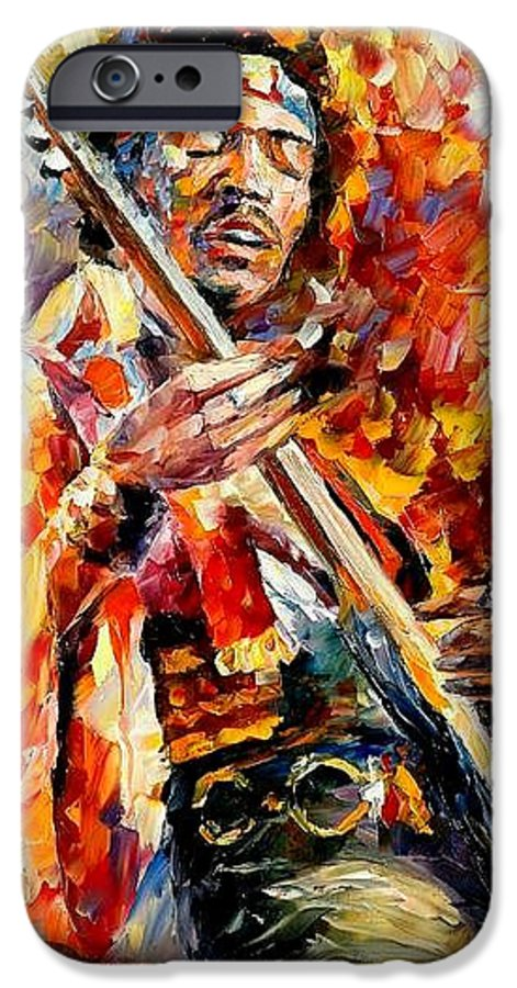Music IPhone 6 Case featuring the painting Jimi Hendrix by Leonid Afremov