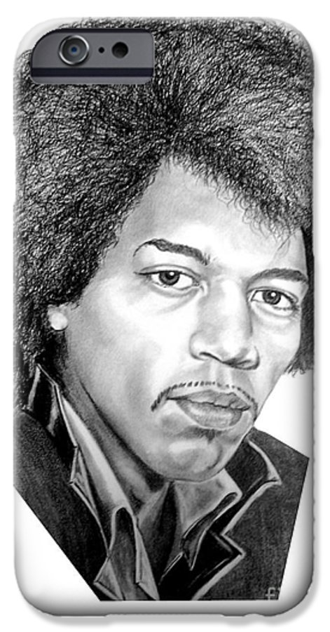 Jimmi Hendrix IPhone 6 Case featuring the drawing Jimmi Hendrix By Murphy Art. Elliott by Murphy Elliott