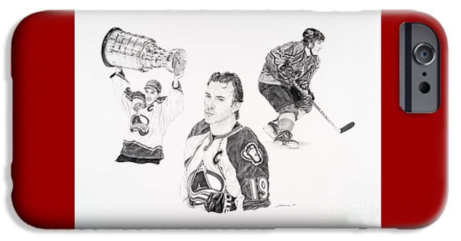 Hockey IPhone 6 Case featuring the drawing Joe Sakic by Shawn Stallings
