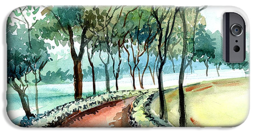 Landscape IPhone 6 Case featuring the painting Jogging Track by Anil Nene