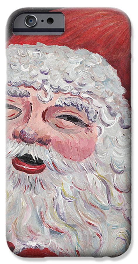Santa IPhone 6 Case featuring the painting Jolly Santa by Nadine Rippelmeyer