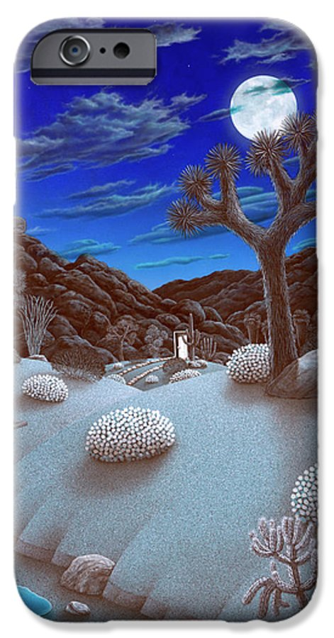 Landscape IPhone 6 Case featuring the painting Joshua Tree At Night by Snake Jagger
