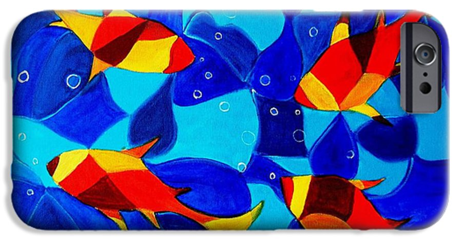 Abstract.acrylic.fish.bubbles.art.painting.modern.contemporary.popblue Red Bubbles Yellow Landscape IPhone 6 Case featuring the painting Joy Fish Abstract by Manjiri Kanvinde