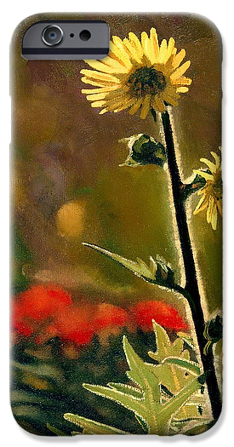 Prairie Flowers IPhone 6 Case featuring the painting July Afternoon-compass Plant by Bruce Morrison