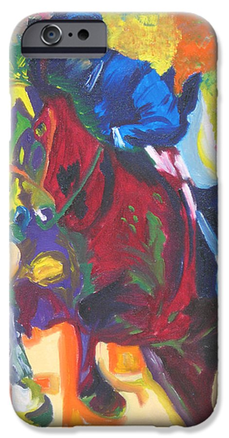Horse Jumping IPhone 6 Case featuring the painting Jump Off by Michael Lee