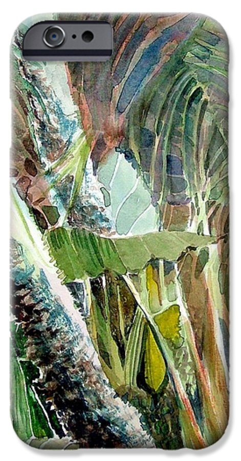 Palm Tree IPhone 6 Case featuring the painting Jungle Light by Mindy Newman