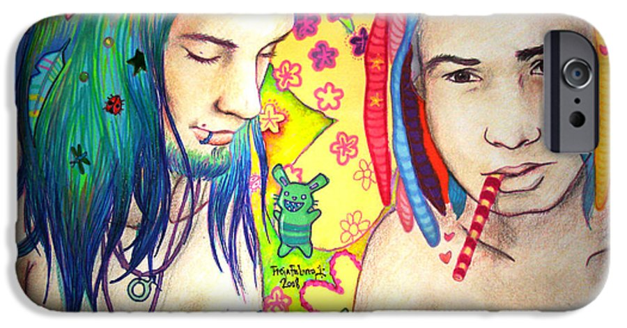 Colours IPhone 6 Case featuring the drawing Kamil And Louis by Freja Friborg