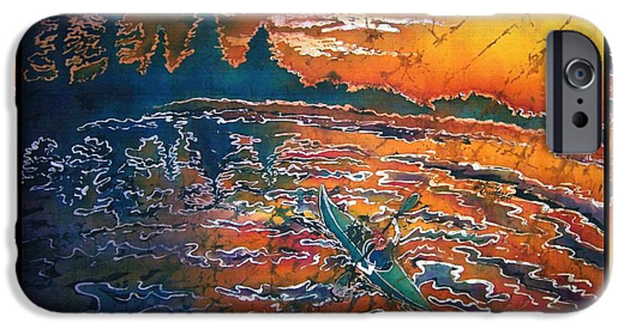 Kayak IPhone 6 Case featuring the painting Kayaking Serenity - Bordered by Sue Duda