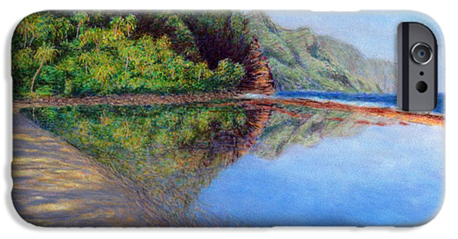 Rainbow Colors Pastel IPhone 6 Case featuring the painting Ke'e Morning by Kenneth Grzesik
