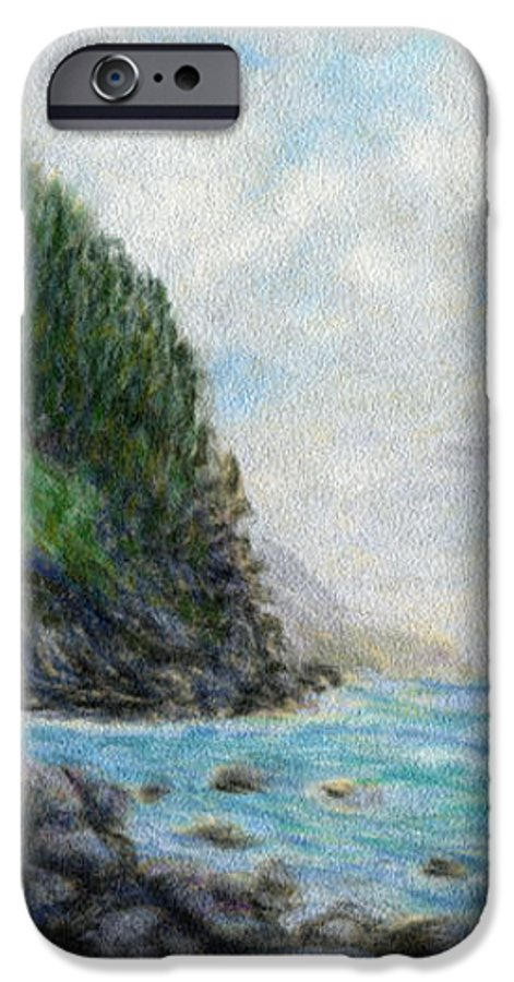 Rainbow Colors Pastel IPhone 6 Case featuring the painting Ke'e Rocks by Kenneth Grzesik