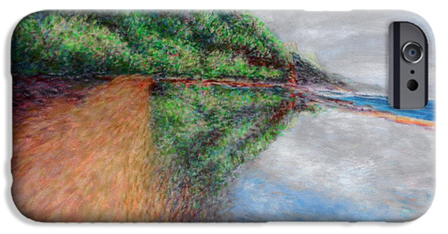 Rainbow Colors Pastel IPhone 6 Case featuring the painting Ke'e Tondo by Kenneth Grzesik