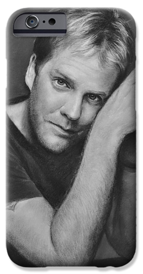 Portraits IPhone 6 Case featuring the drawing Kiefer Sutherland by Iliyan Bozhanov