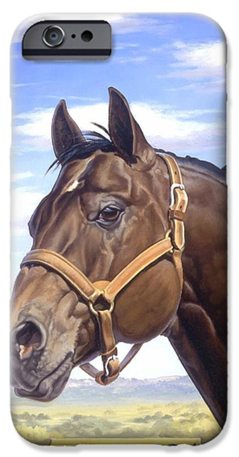 Quarter Horse IPhone 6 Case featuring the painting King P234 by Howard Dubois