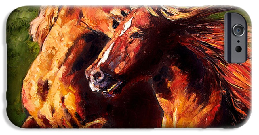 Horses Running IPhone 6 Case featuring the painting Kiss On The Run by John Lautermilch
